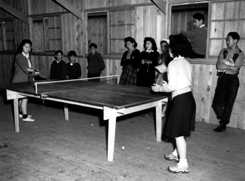 Group playing ping-pong at the Puyallup Assembly Center.