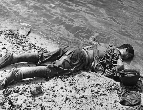 Japanese soldier lies dead face down