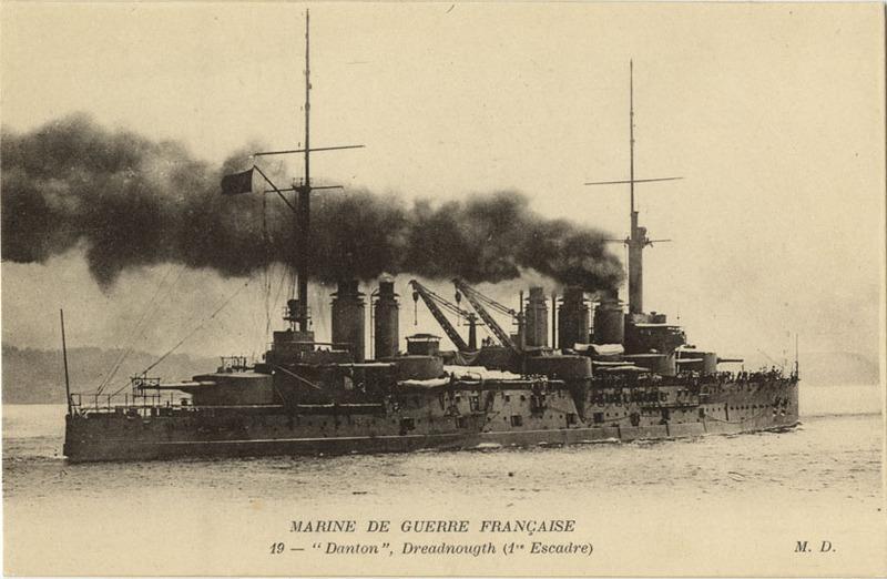 Battleship Danton postcard