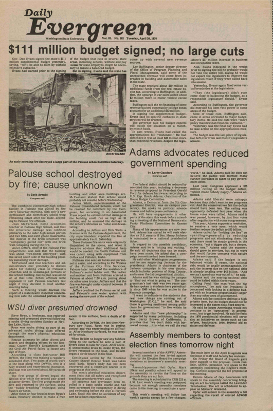 Evergreen, 1976-04-20 pg 1