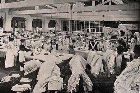 Immigrant women working in a steam laundry<br />