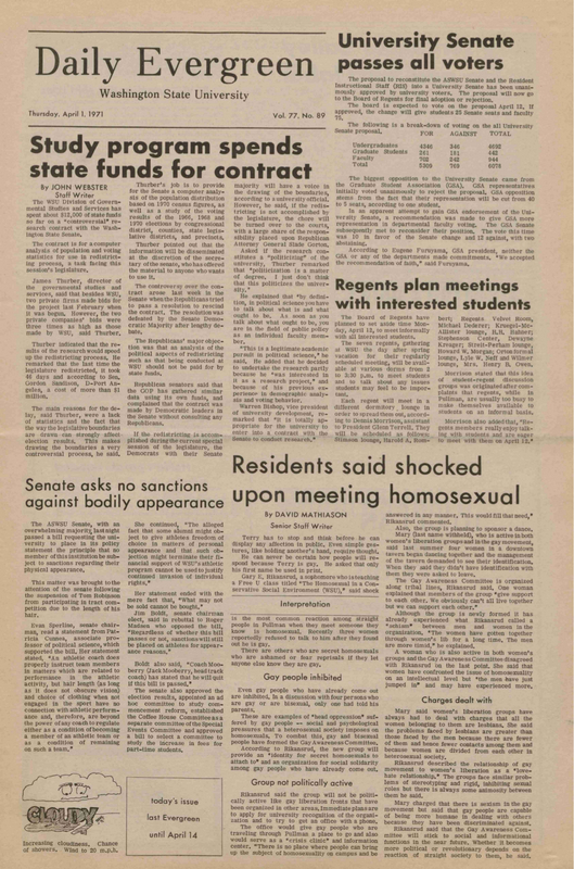 Evergreen, 1971-04-01 pg 1