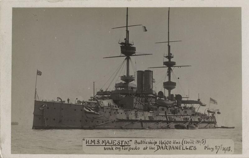 H.M.S. Majestic postcard