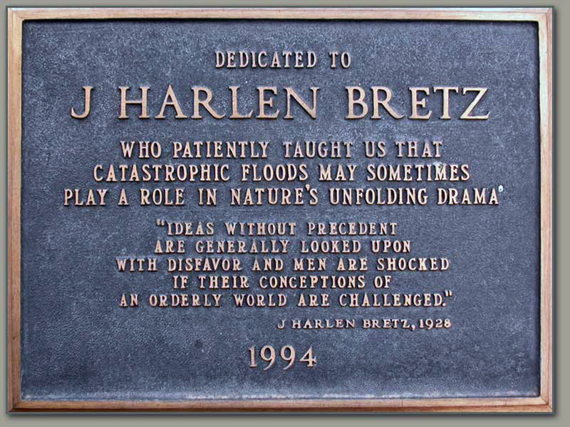 Plaque dedicated to J. Harlen Bretz