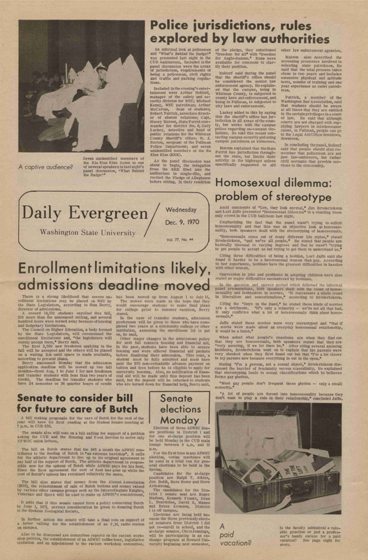 Evergreen, 1970-12-09 pg 1