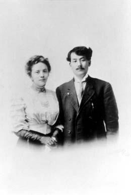 Helen Gladys (Emery) Aoki and Gunjiro Aoki, March 1909.