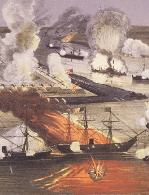 Fleet attacking Confederate Batteries