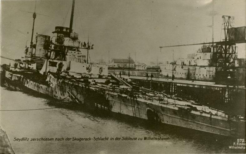 Damaged SMS Seydlitz postcard