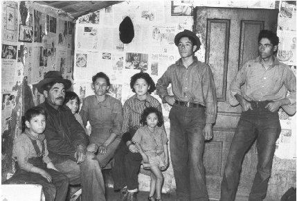 Mexican migrant sugar beet workers, one room house in 1920s