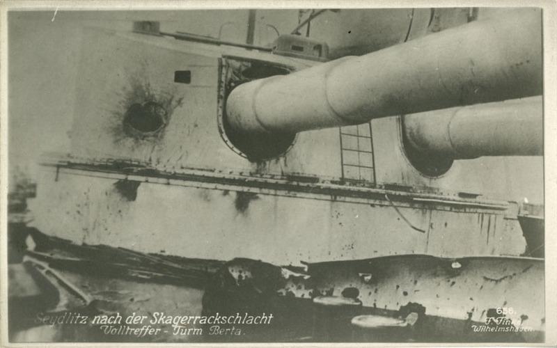 Battlecruiser Seydlitz damaged turret postcard