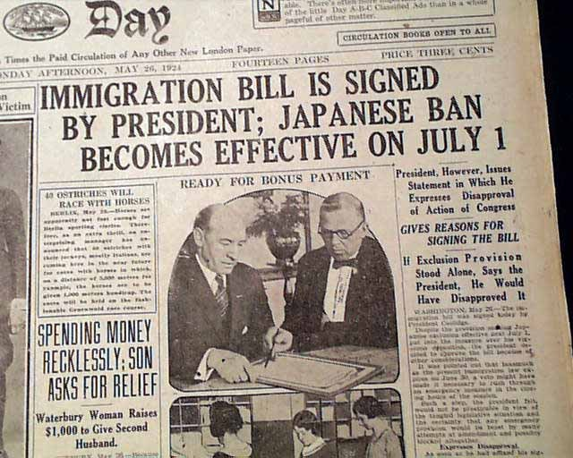 Immigration Act of 1924 is signed by President Calvin Coolidge.
