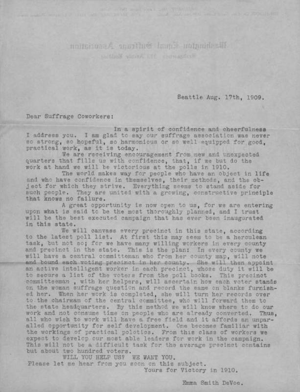 A Letter from Emma Smith DeVoe, President of the Washington Equal Suffrage Association, to Homer H. Hill regarding the Suffrage Movement, 1909