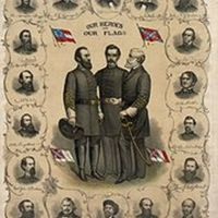 Print of the four versions of the Confederate Flag