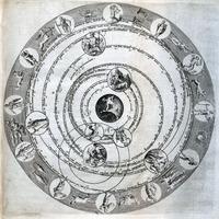 Chart depicting geocentric universe