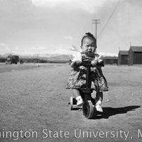 Little girl riding a tricycle outside of the barracks