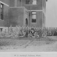 Cadets Beside Administration Building ca. 1897