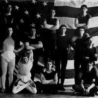 Gymnasts in Front of an American Flag